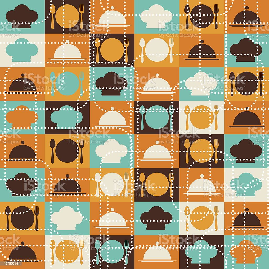 Seamless retro kitchen pattern. royalty-free stock vector art