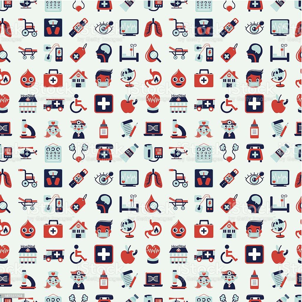 seamless retro Medical pattern vector art illustration