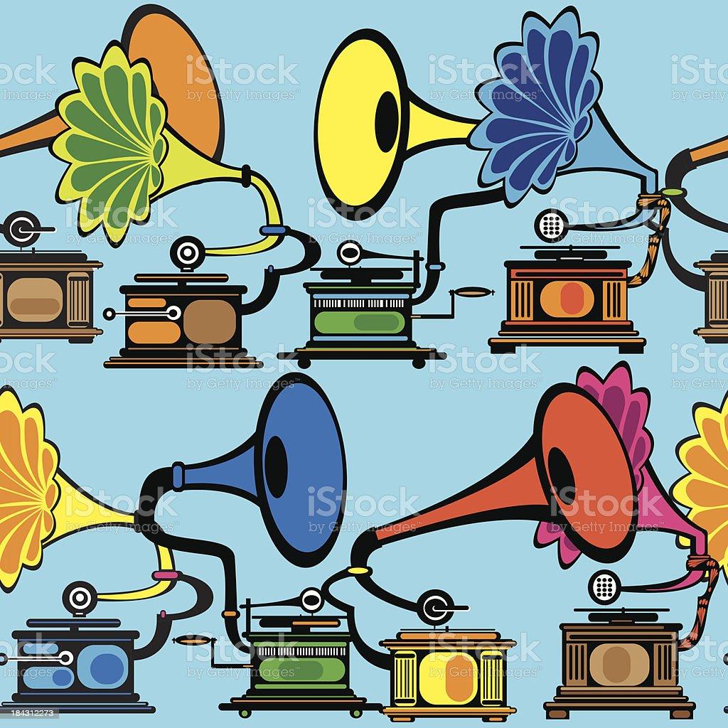 seamless retro multicolor gramophone royalty-free stock vector art