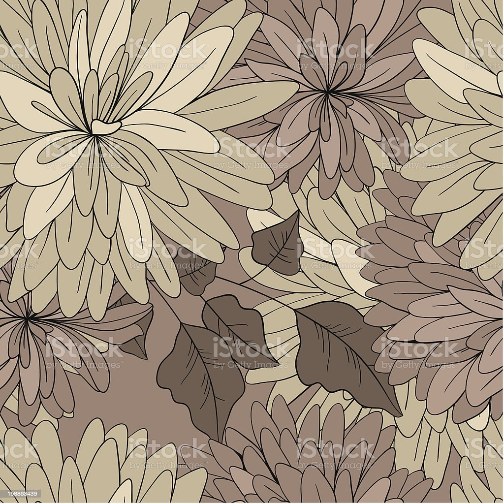 seamless retro pattern from abstract flowers royalty-free stock vector art