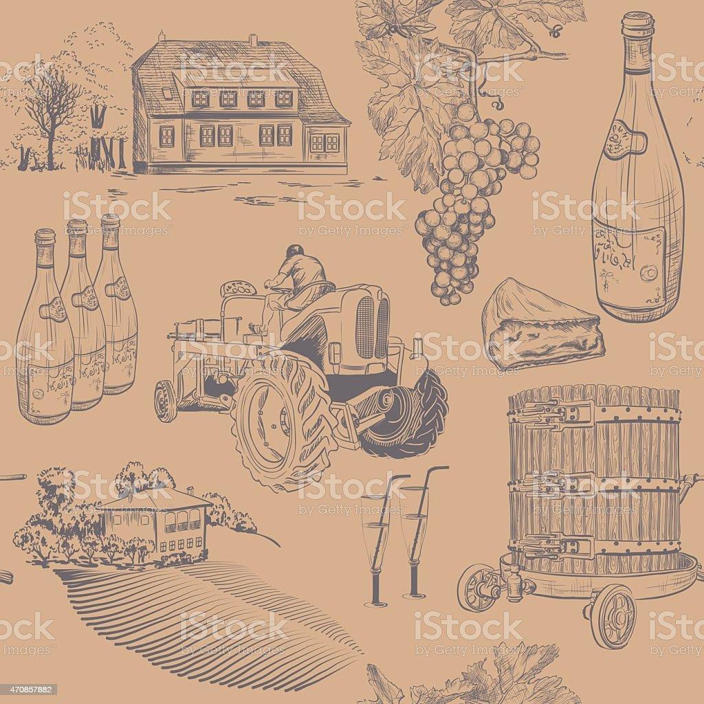 Seamless retro pattern of wine making vector art illustration