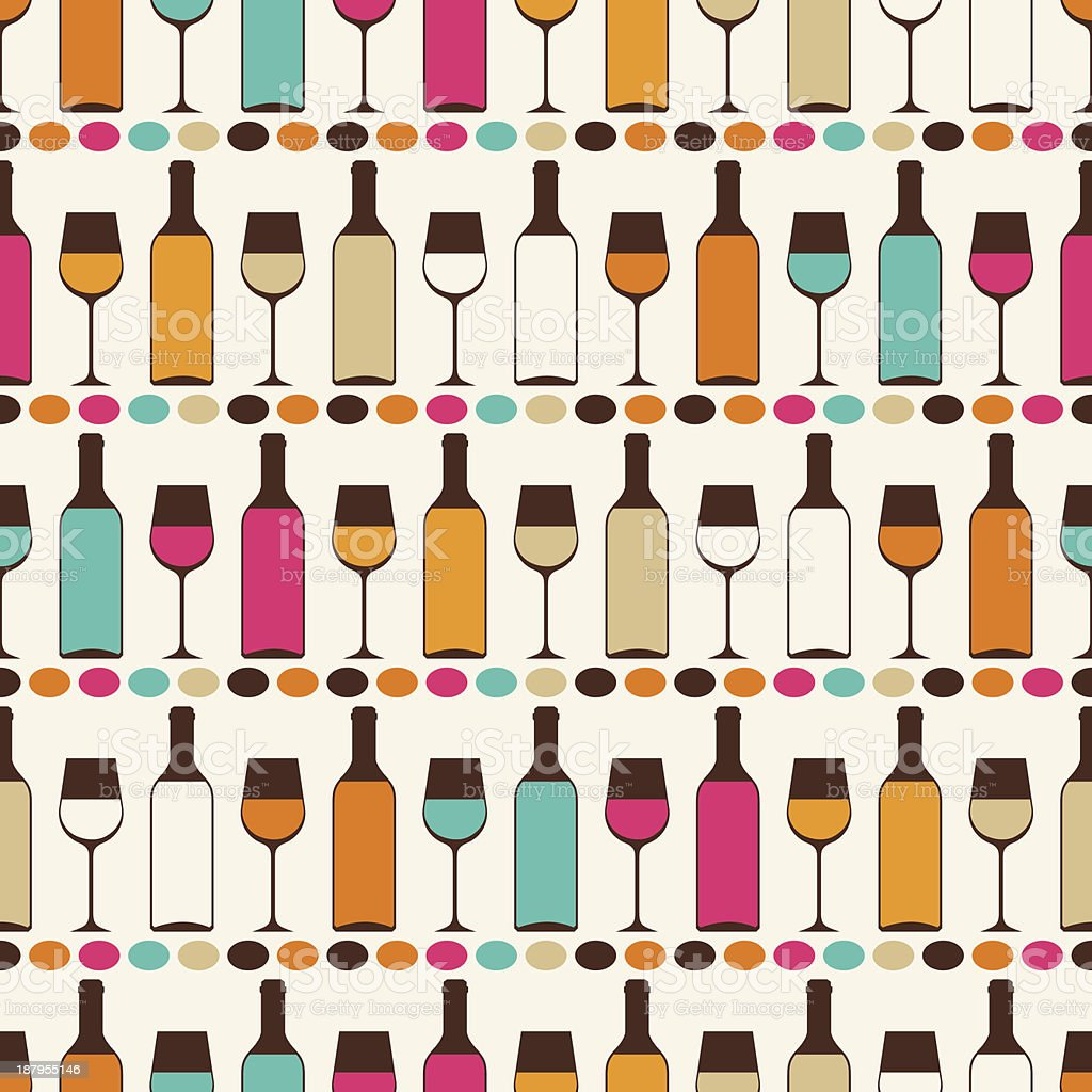 Seamless retro pattern with bottles of wine and glasses. royalty-free stock vector art
