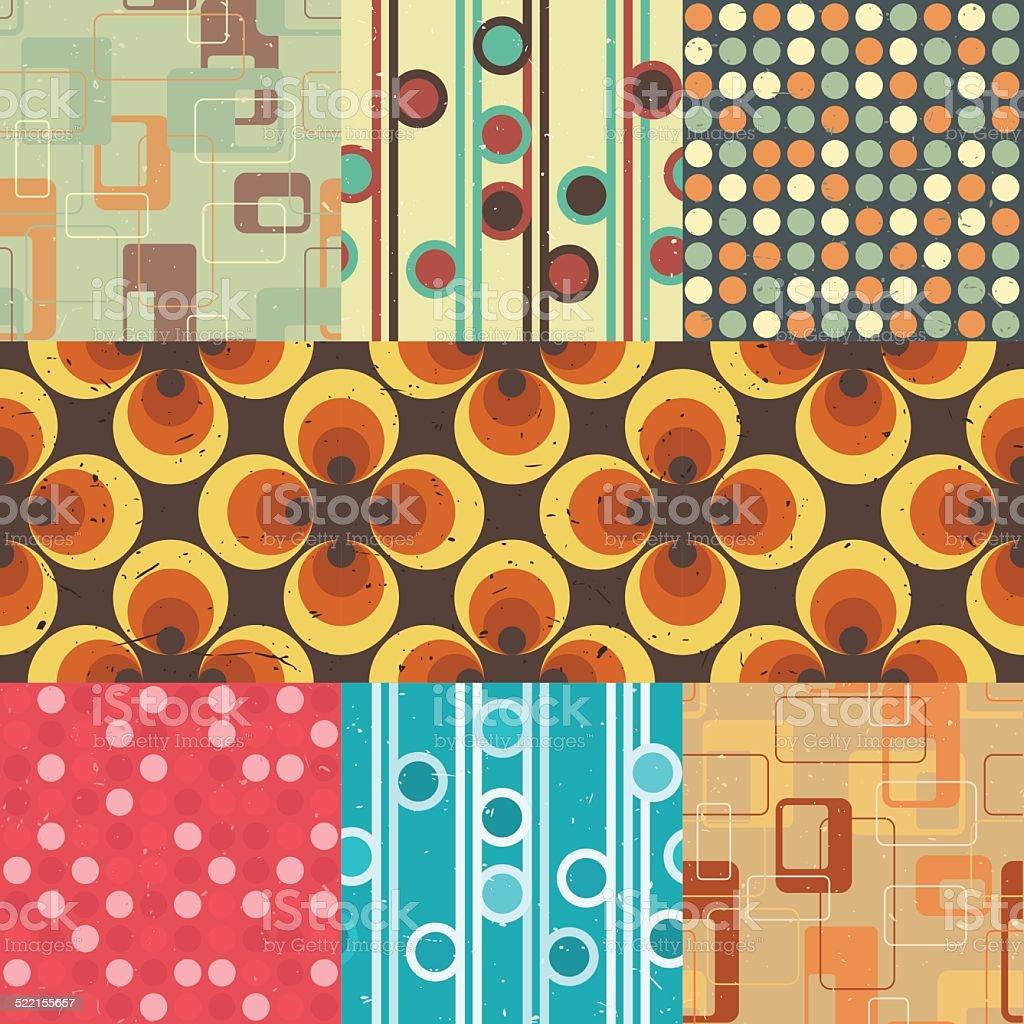 Seamless retro patterns. vector art illustration