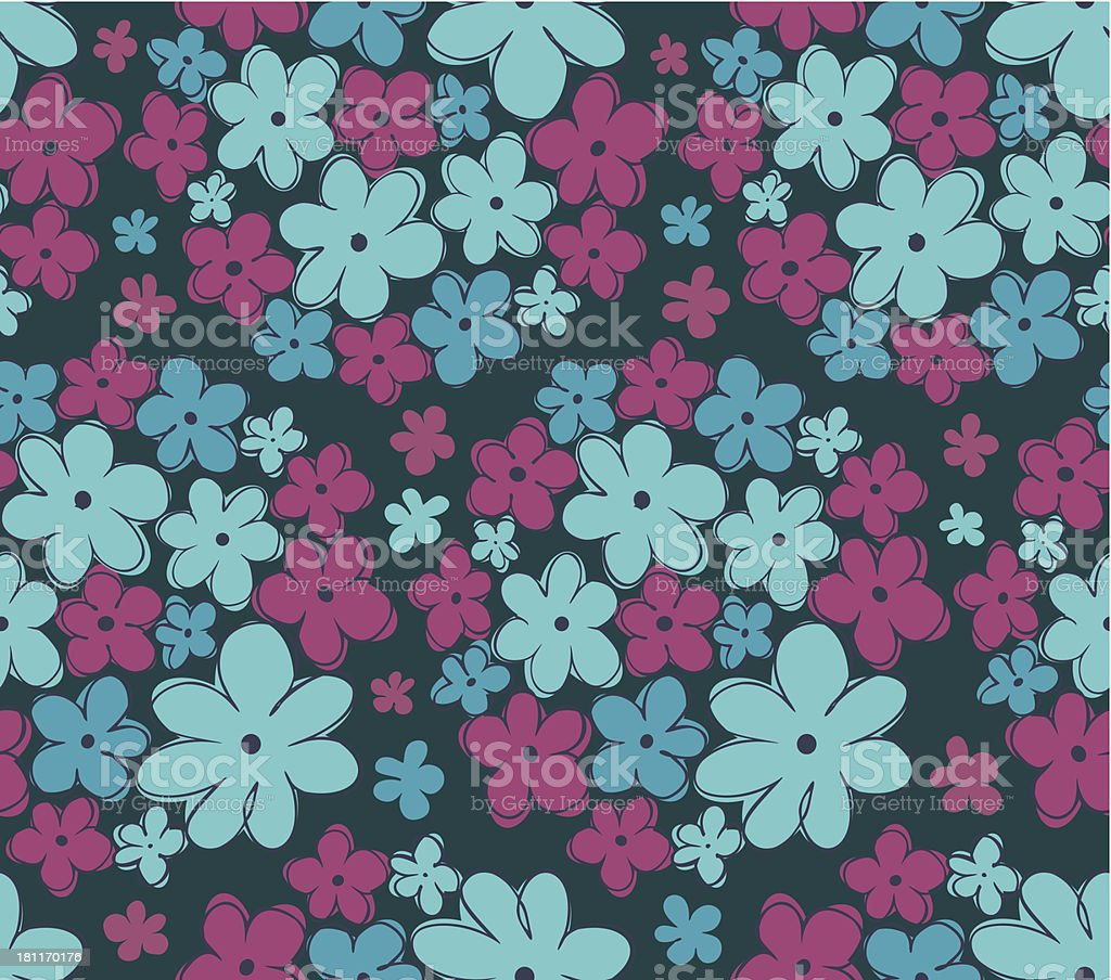 Seamless retro texture with flowers royalty-free stock vector art