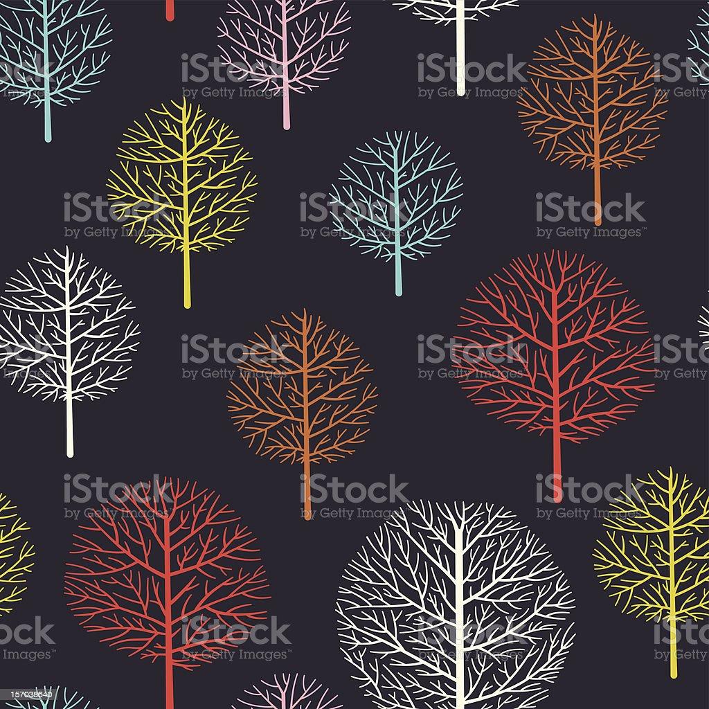 Seamless retro tree pattern royalty-free stock vector art