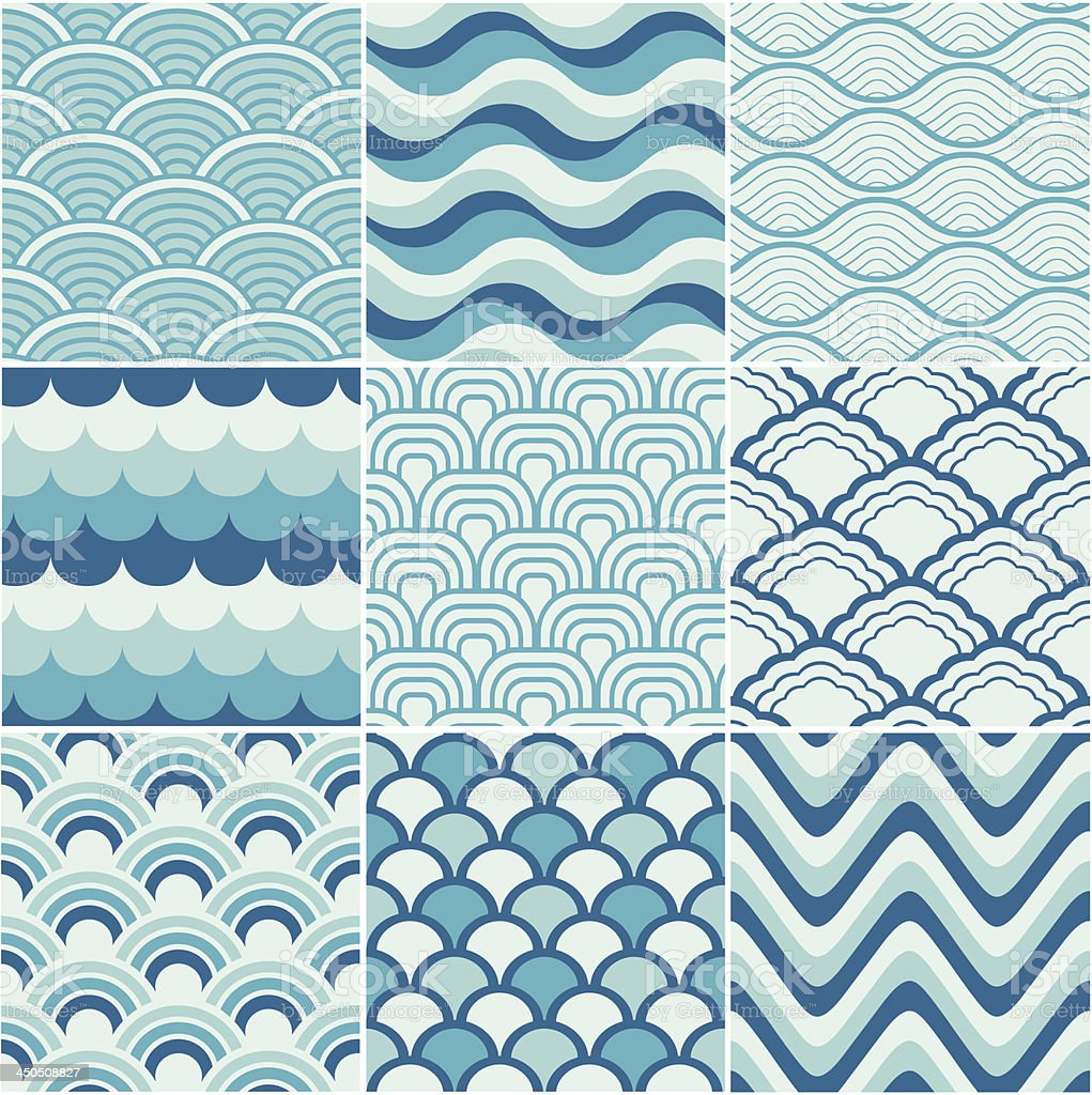 seamless retro wave pattern vector art illustration
