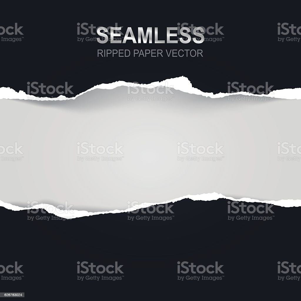 Seamless ripped paper and white background with space for text vector art illustration