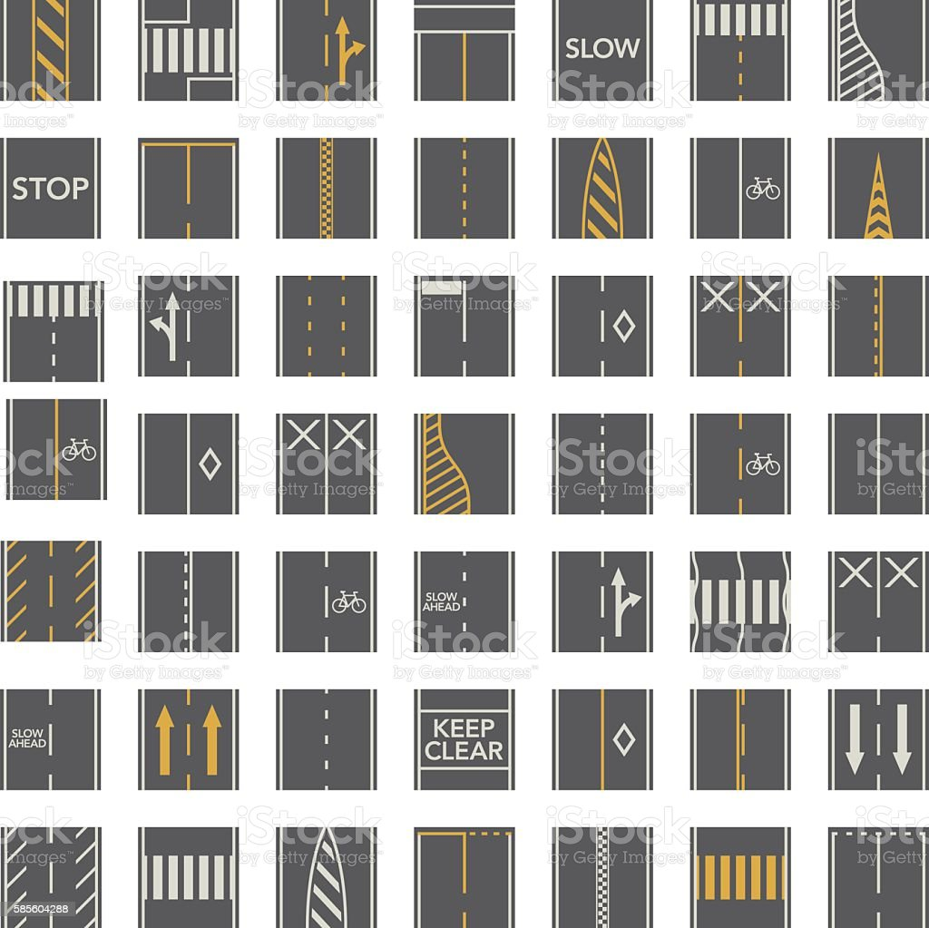 Seamless Road Construction Tiles Kit - Overhead Perspective vector art illustration