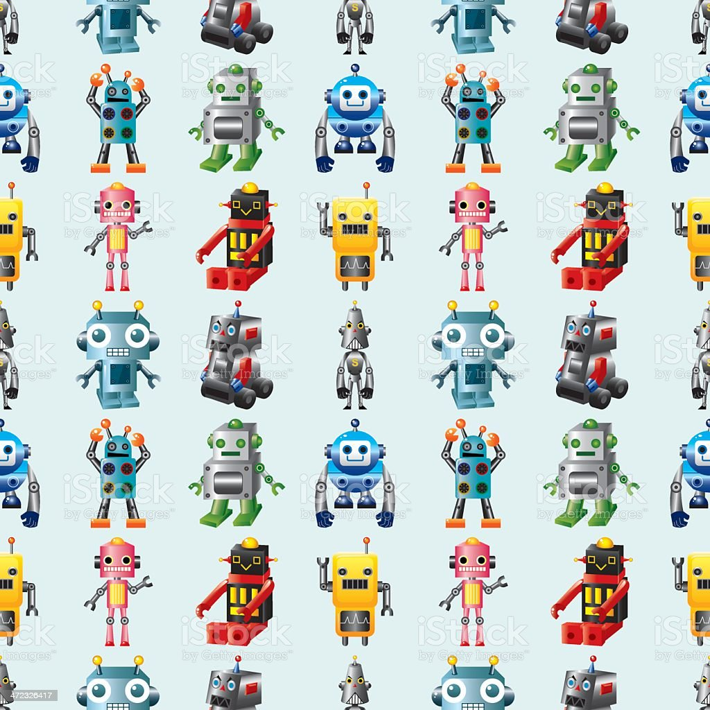 seamless Robot pattern royalty-free stock vector art