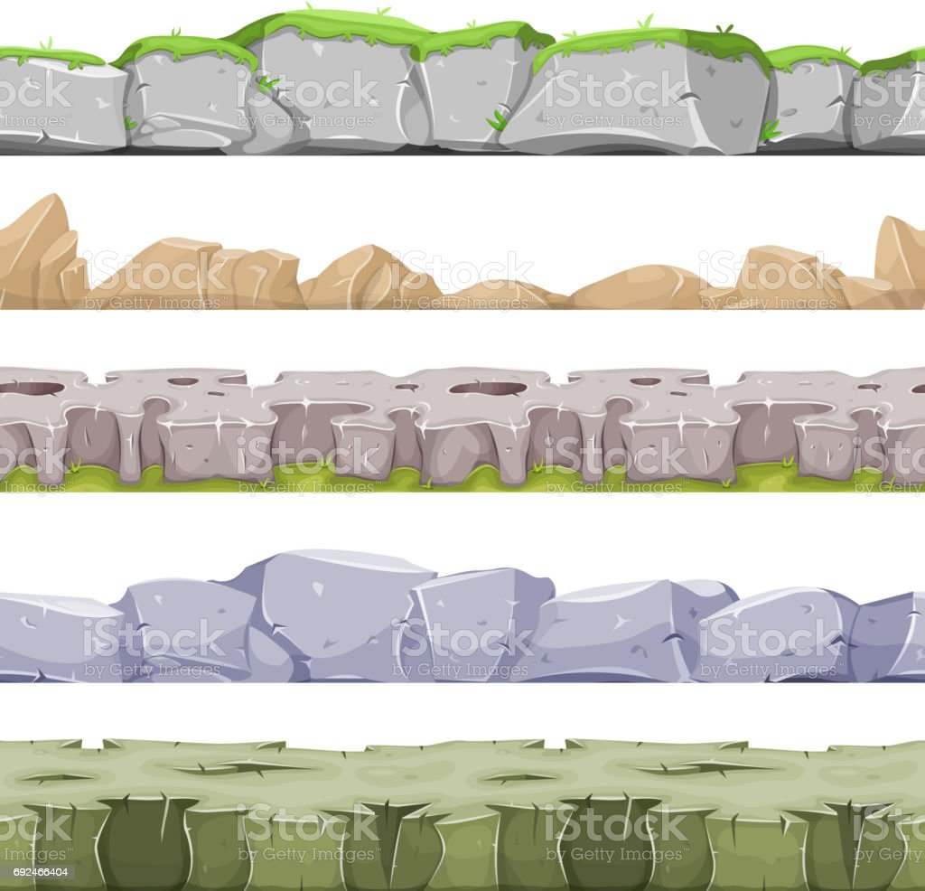 Seamless Rocky Landscape And Stony Grounds For Game Ui vector art illustration