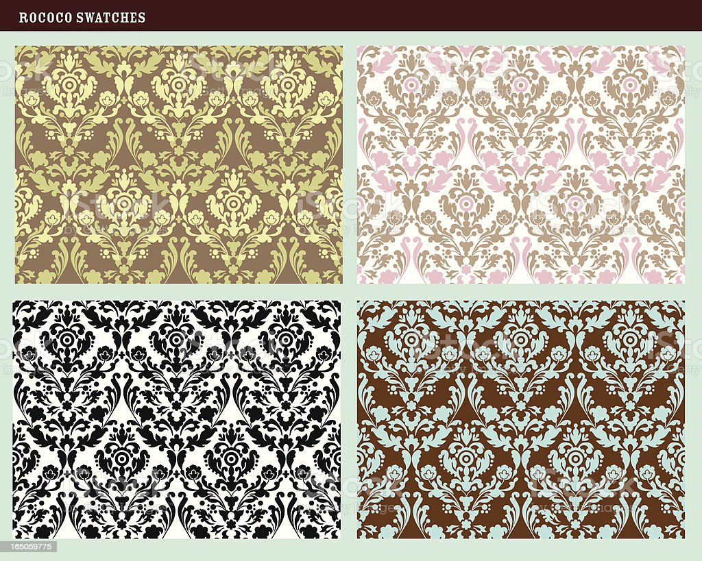 Seamless Rococo Floral Damask Patterns royalty-free stock vector art