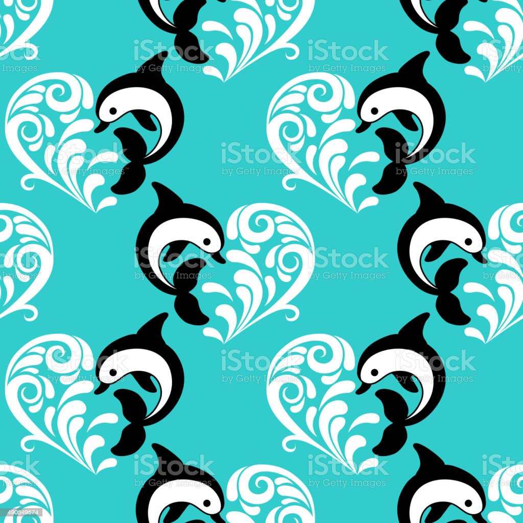 Seamless romantic pattern with dolphin, wave heart vector art illustration