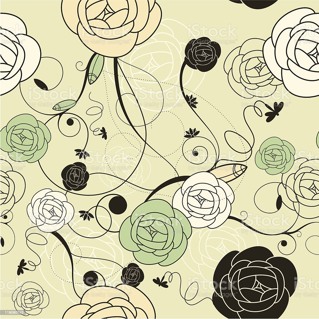 seamless romantic wallpaper with roses royalty-free stock vector art