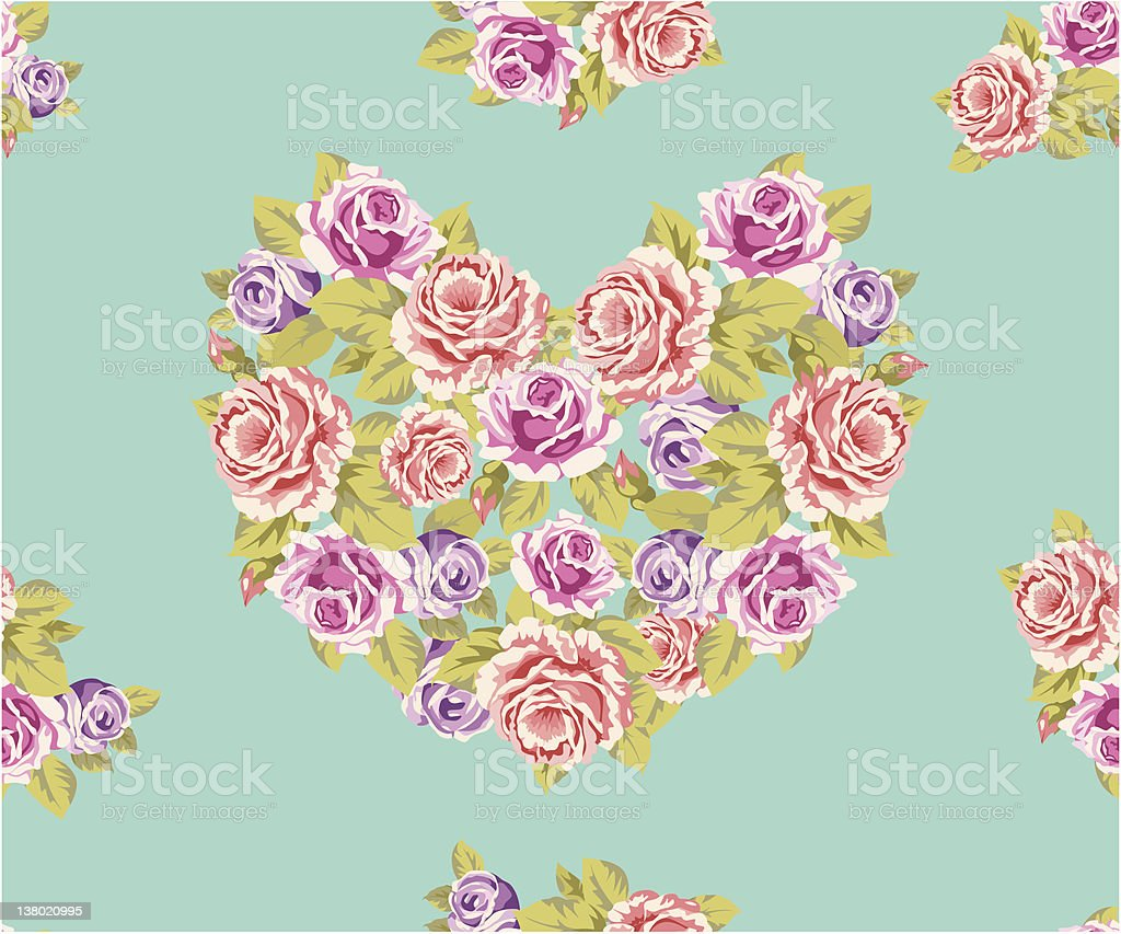 Seamless Rose Heart Background royalty-free stock vector art