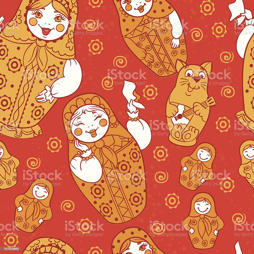 Seamless russian Dolls pattern royalty-free stock vector art
