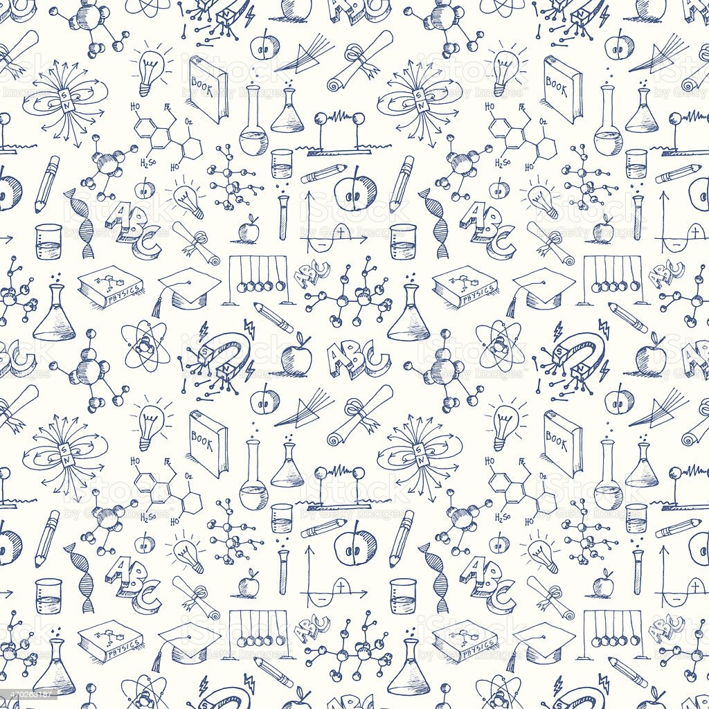 Seamless Science Symbols Pattern vector art illustration