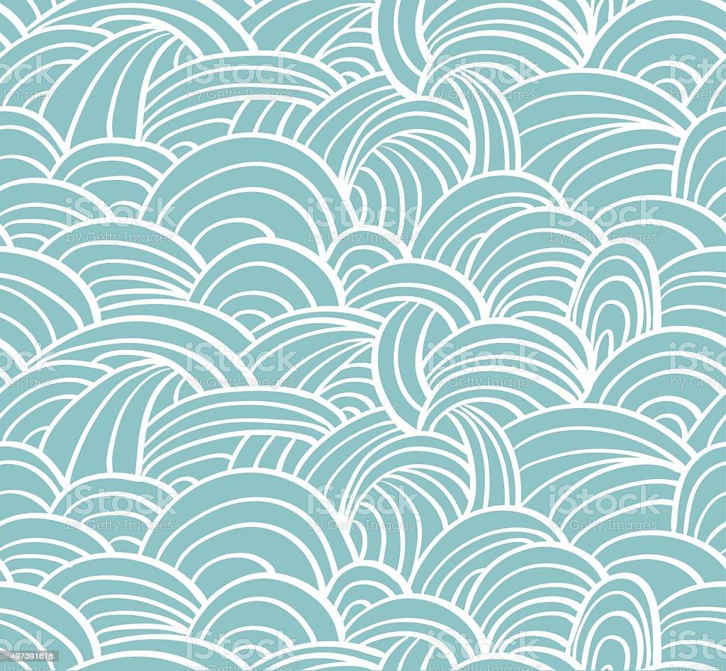 Seamless sea hand-drawn pattern, waves background. vector art illustration