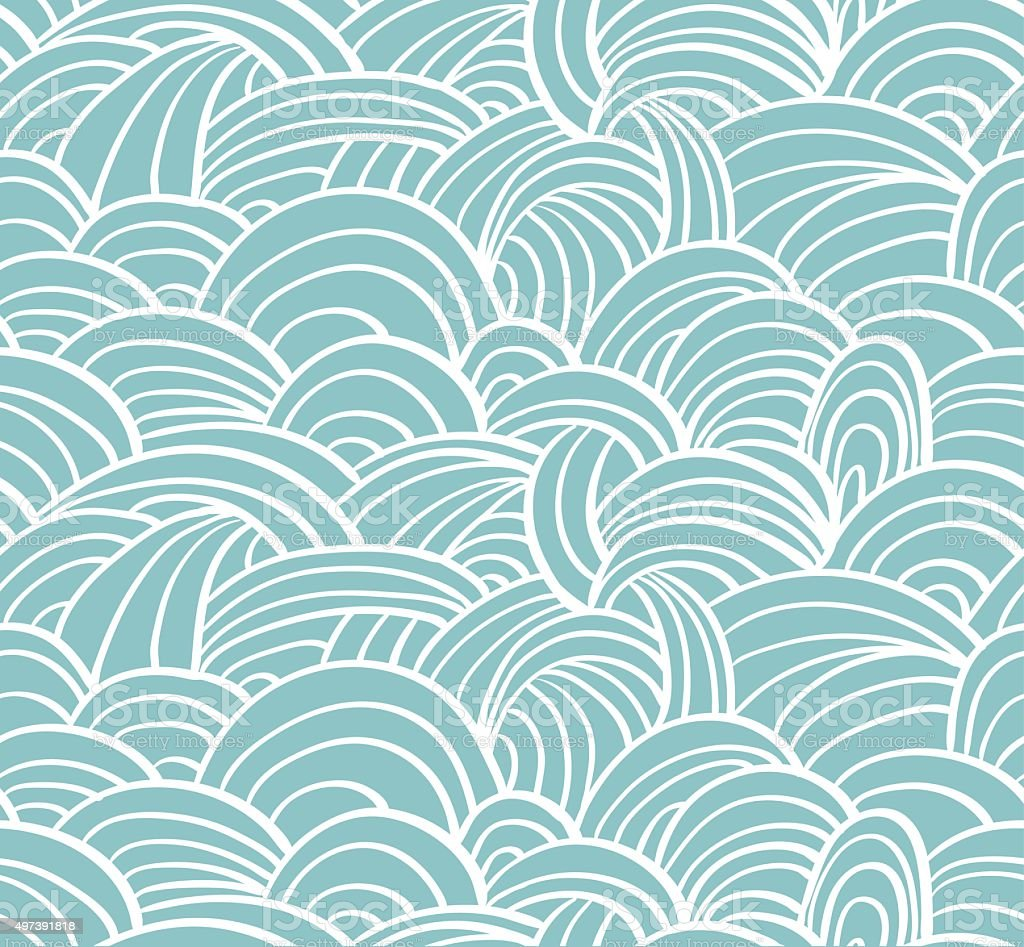 Seamless sea hand-drawn pattern, waves background. vector art illustration