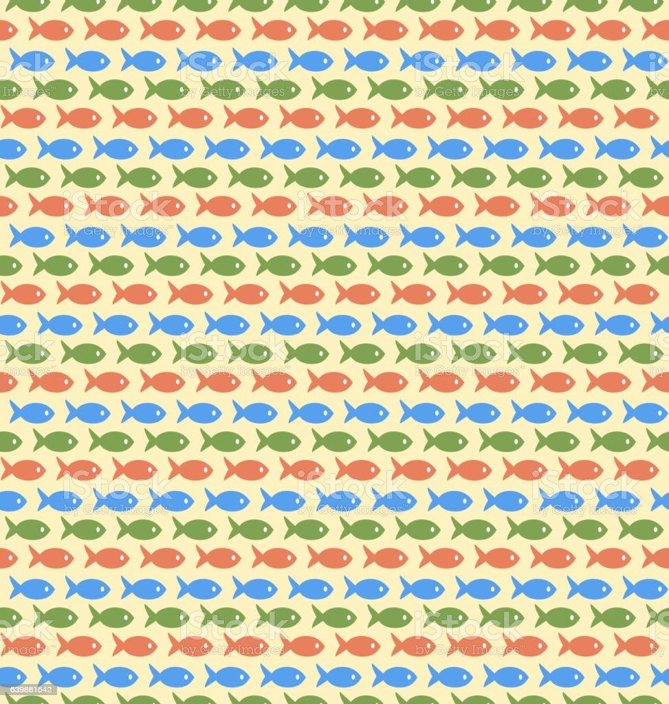 Seamless sea pattern. Multicolor fishes on yellow vector art illustration