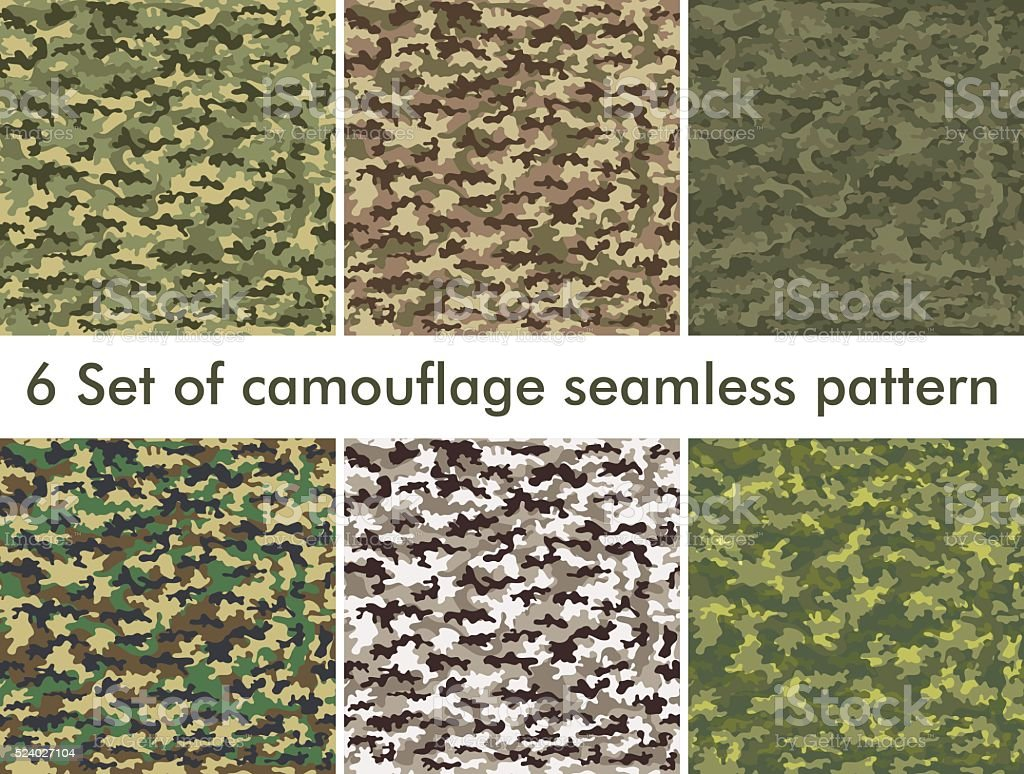Seamless set of camouflage military pattern. Cloth for infantry vector art illustration