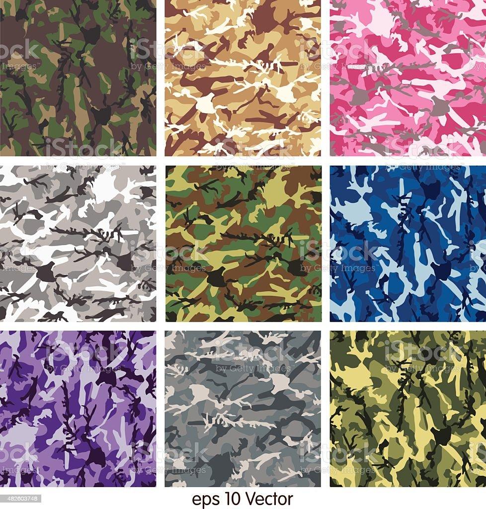 Seamless set of camouflage pattern vector vector art illustration
