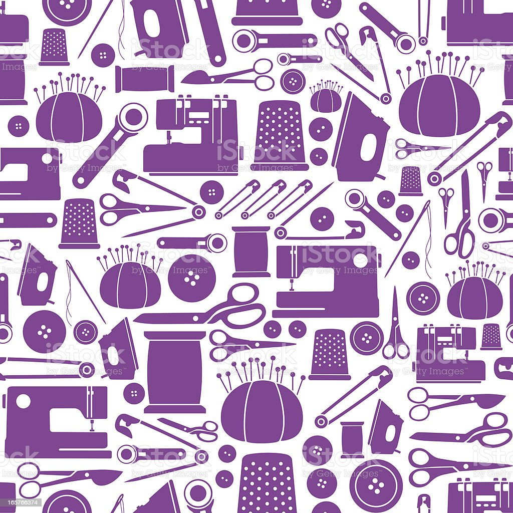 Seamless Sewing Items Pattern royalty-free stock vector art