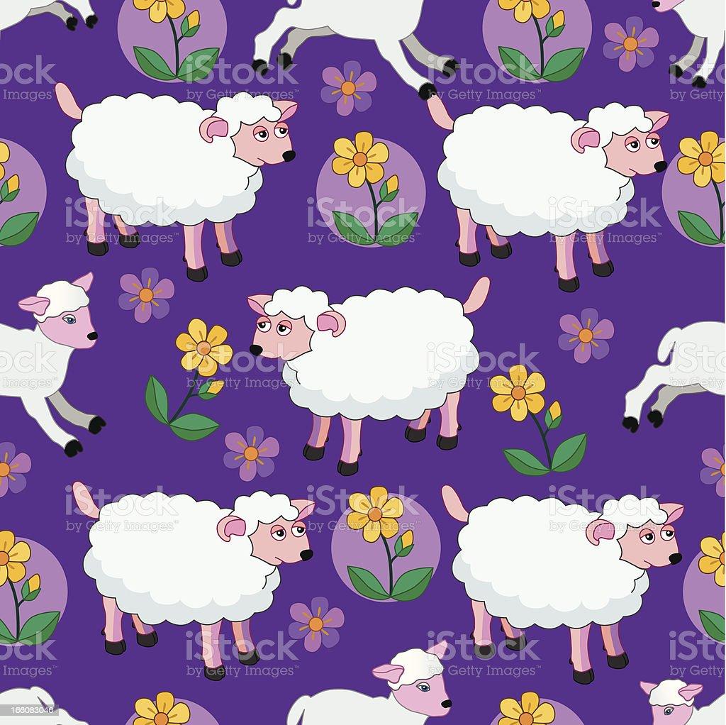 seamless sheep and lambs pattern royalty-free stock vector art