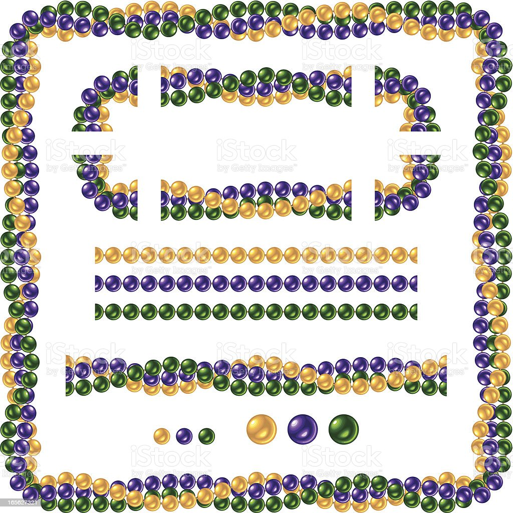 Seamless Shiny Mardi Gras Necklace Beads vector art illustration