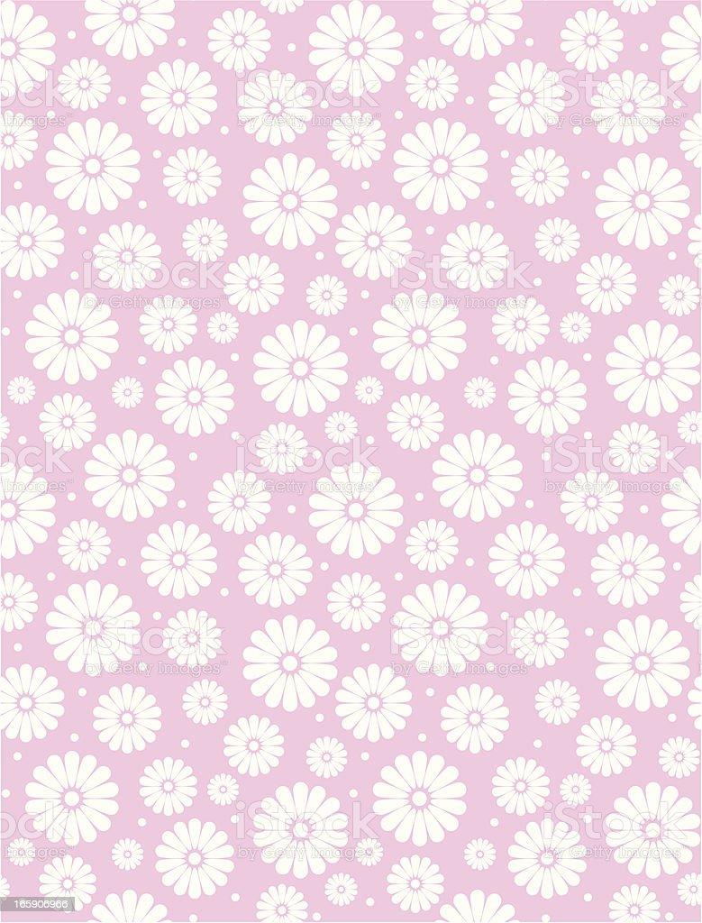 Seamless Simple Pink Daisy Polka Repeat Pattern vector art illustration