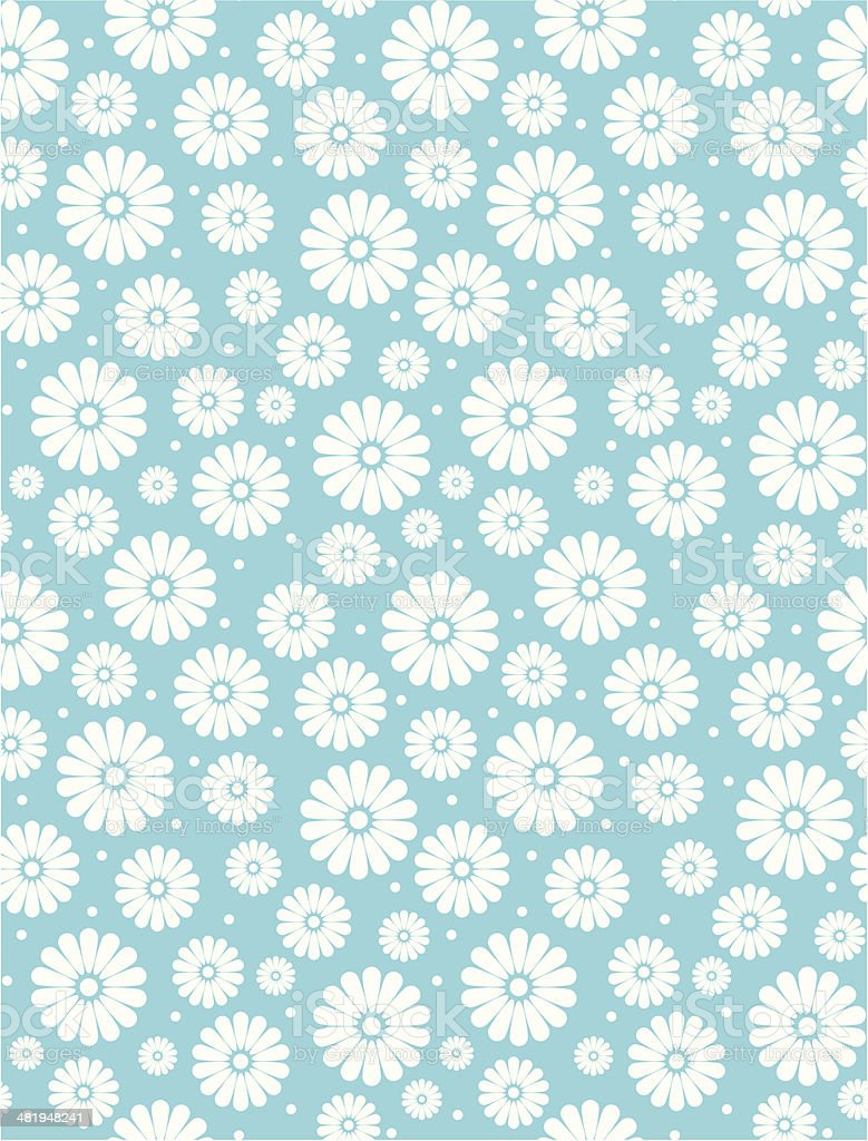 Seamless Simple Turquoise Daisy Polka Repeat Pattern vector art illustration