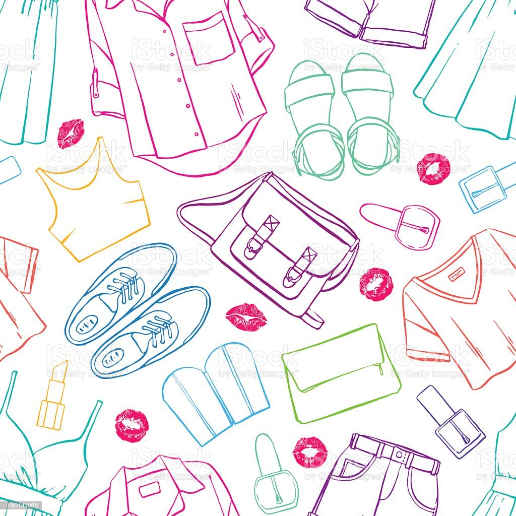 seamless sketch colorful clothing vector art illustration