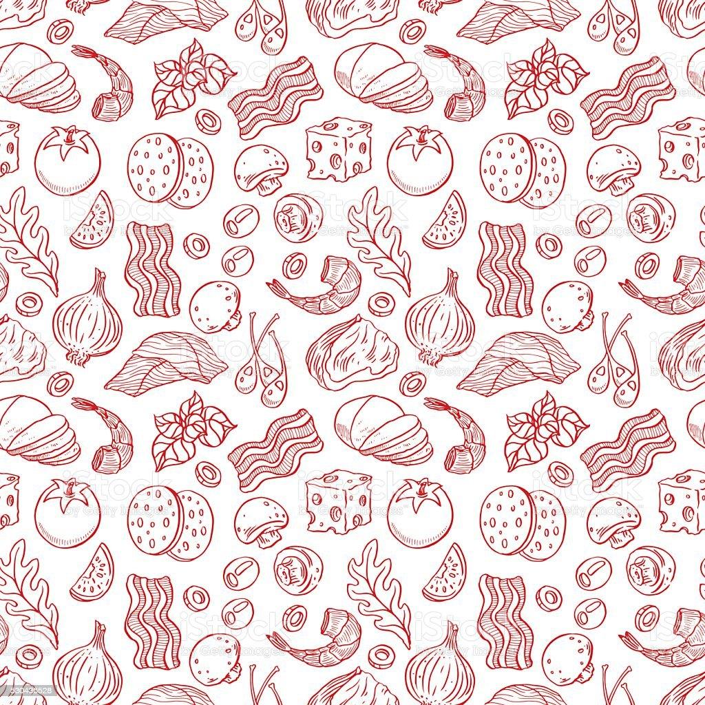 seamless sketch pizza ingredients vector art illustration