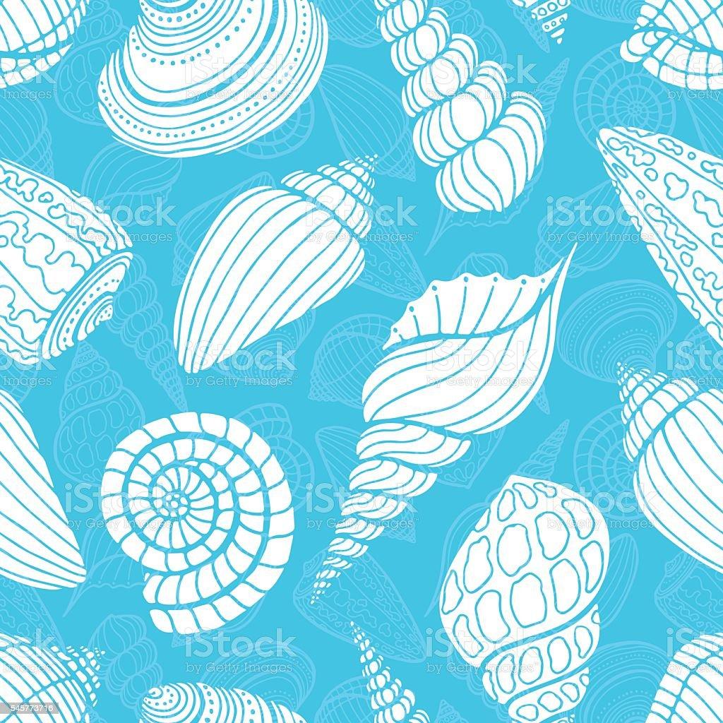 seamless sketch seashells vector art illustration