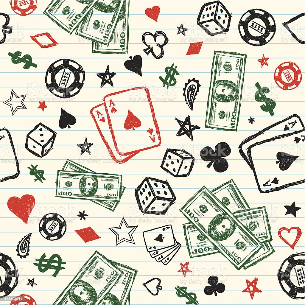 Seamless sketchy gambling background vector art illustration