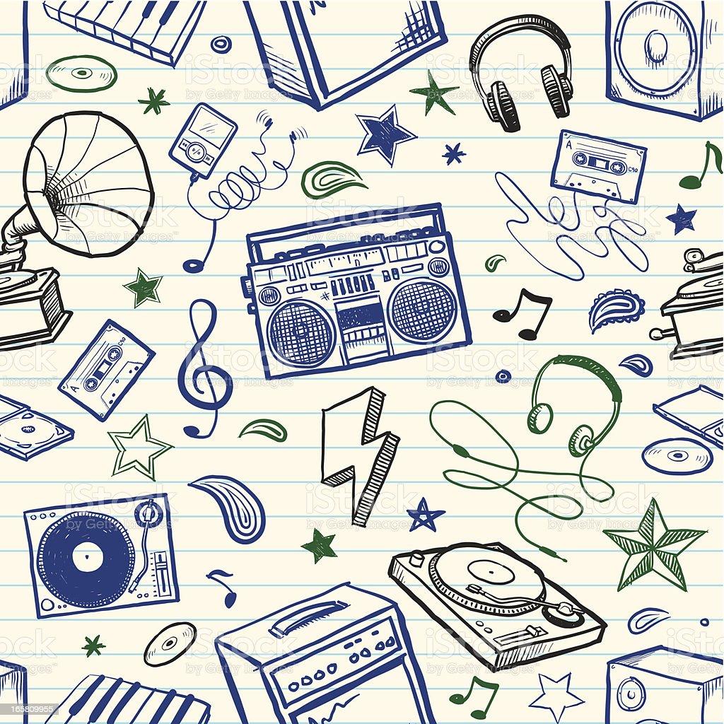 Seamless sketchy music background vector art illustration