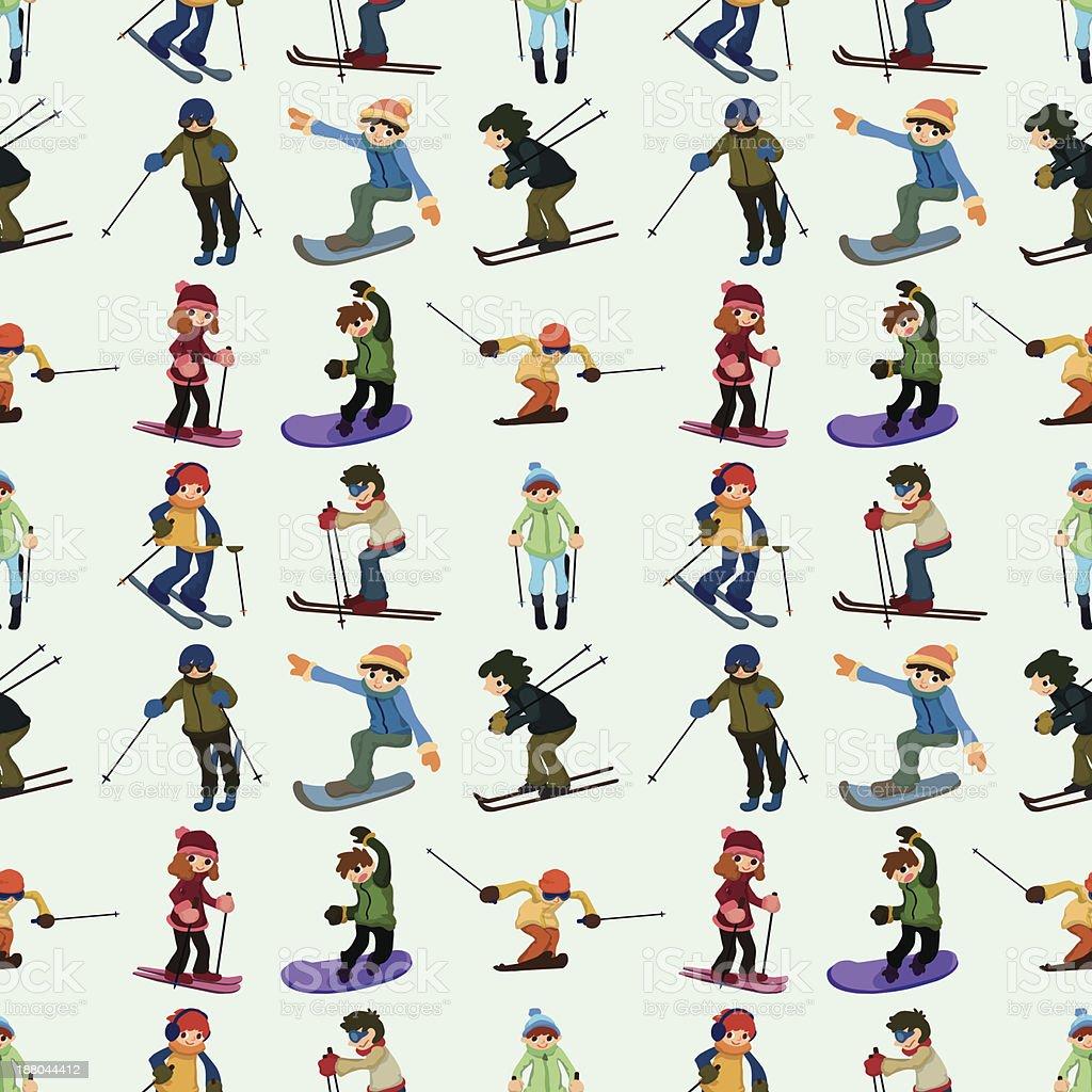seamless ski player pattern royalty-free stock vector art