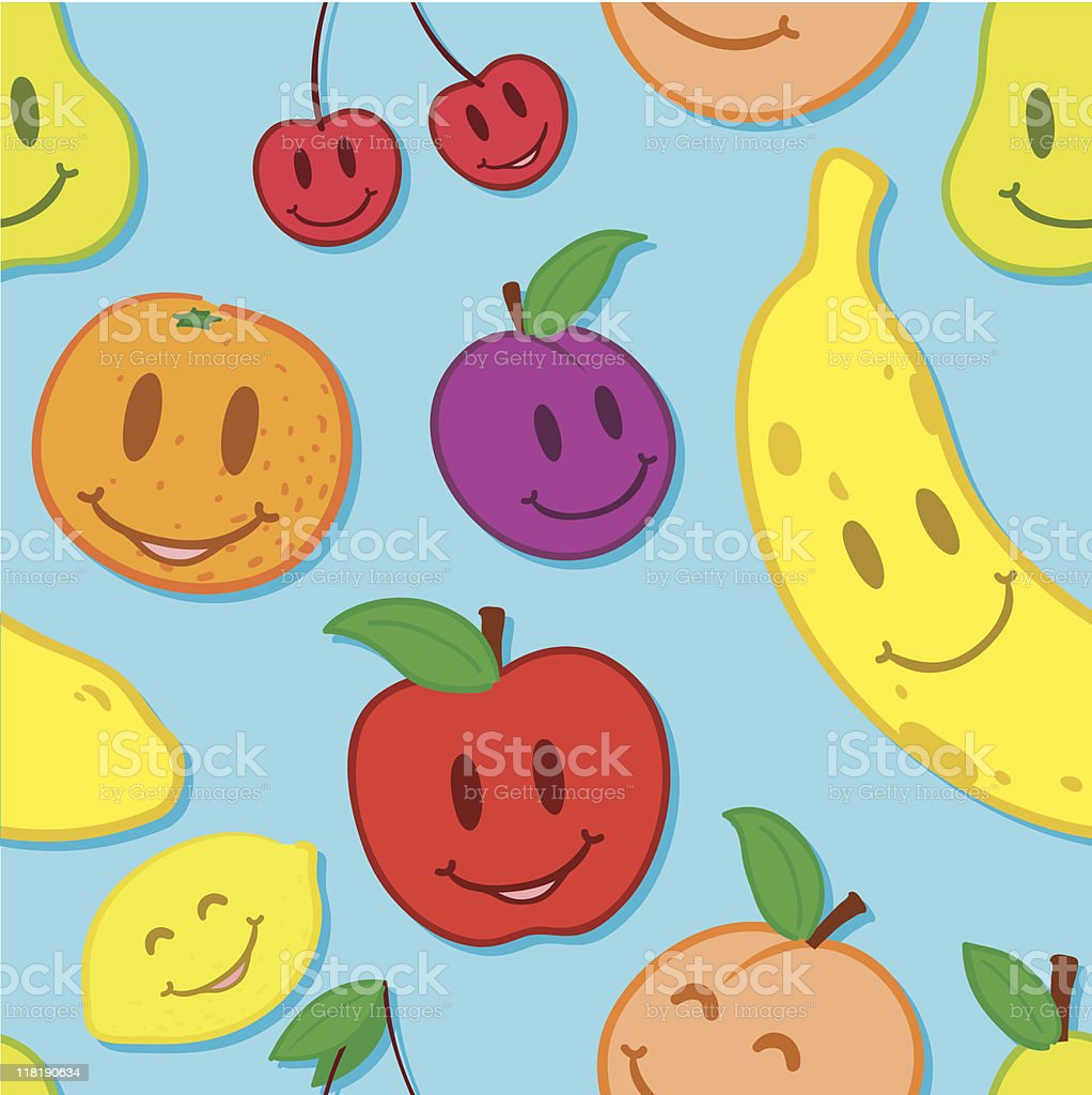 Seamless, smiling fruit background royalty-free stock vector art