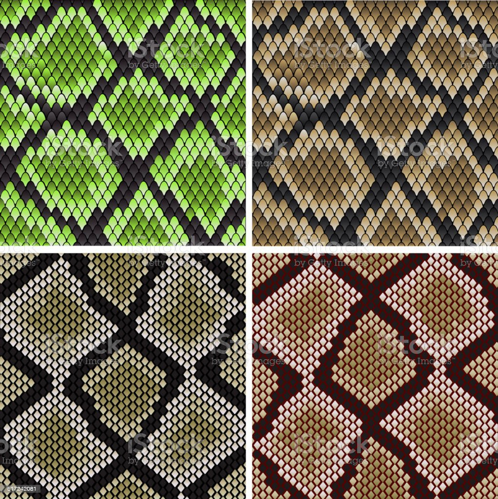 Seamless snake skin patterns vector art illustration