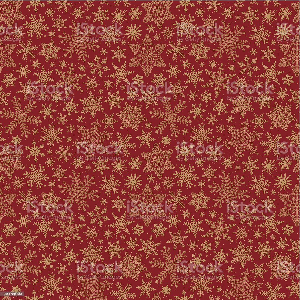 Seamless snowflake pattern on a red background vector art illustration