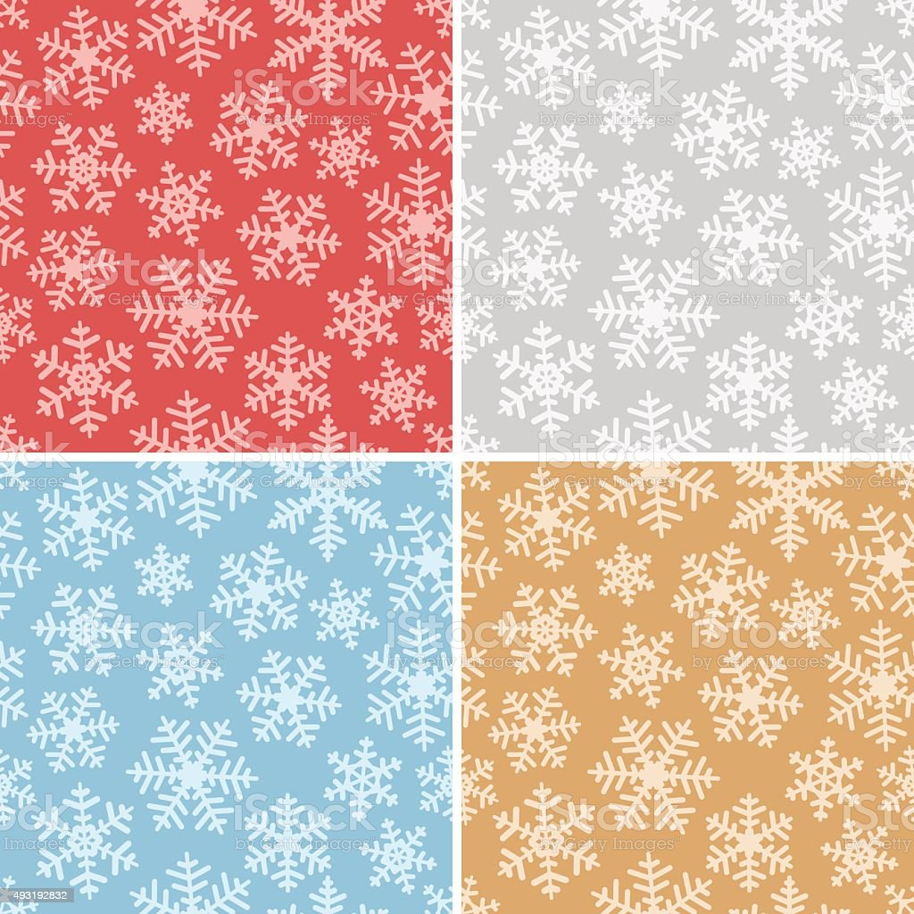Seamless Snowflakes Background Set vector art illustration