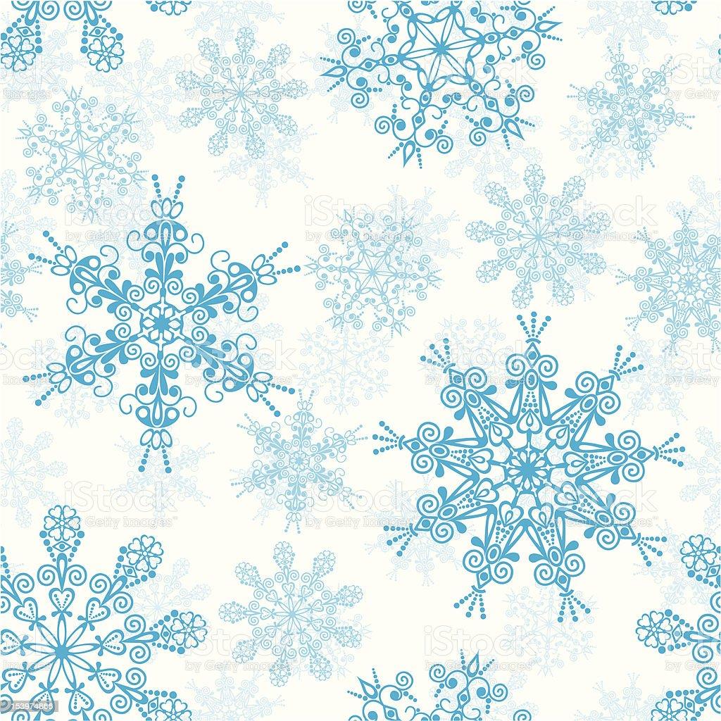 Seamless snowflakes pattern vector art illustration