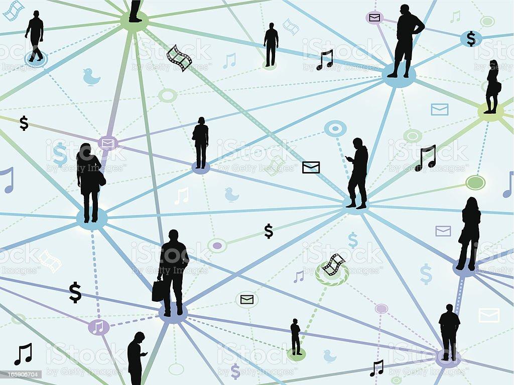Seamless social networking background vector art illustration