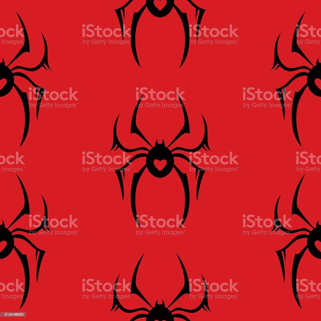 Seamless Spider Pattern vector art illustration