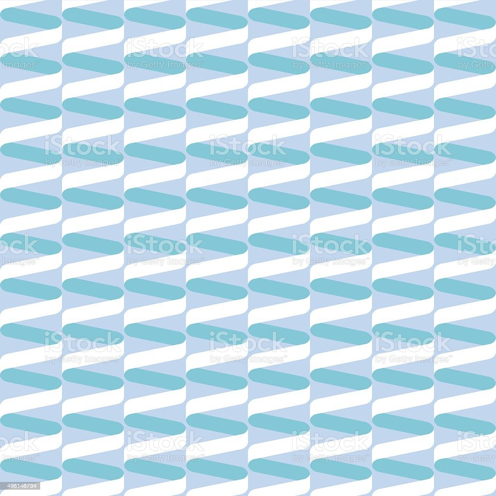 Seamless spiral ribbon wave pattern in pastel blue and green vector art illustration