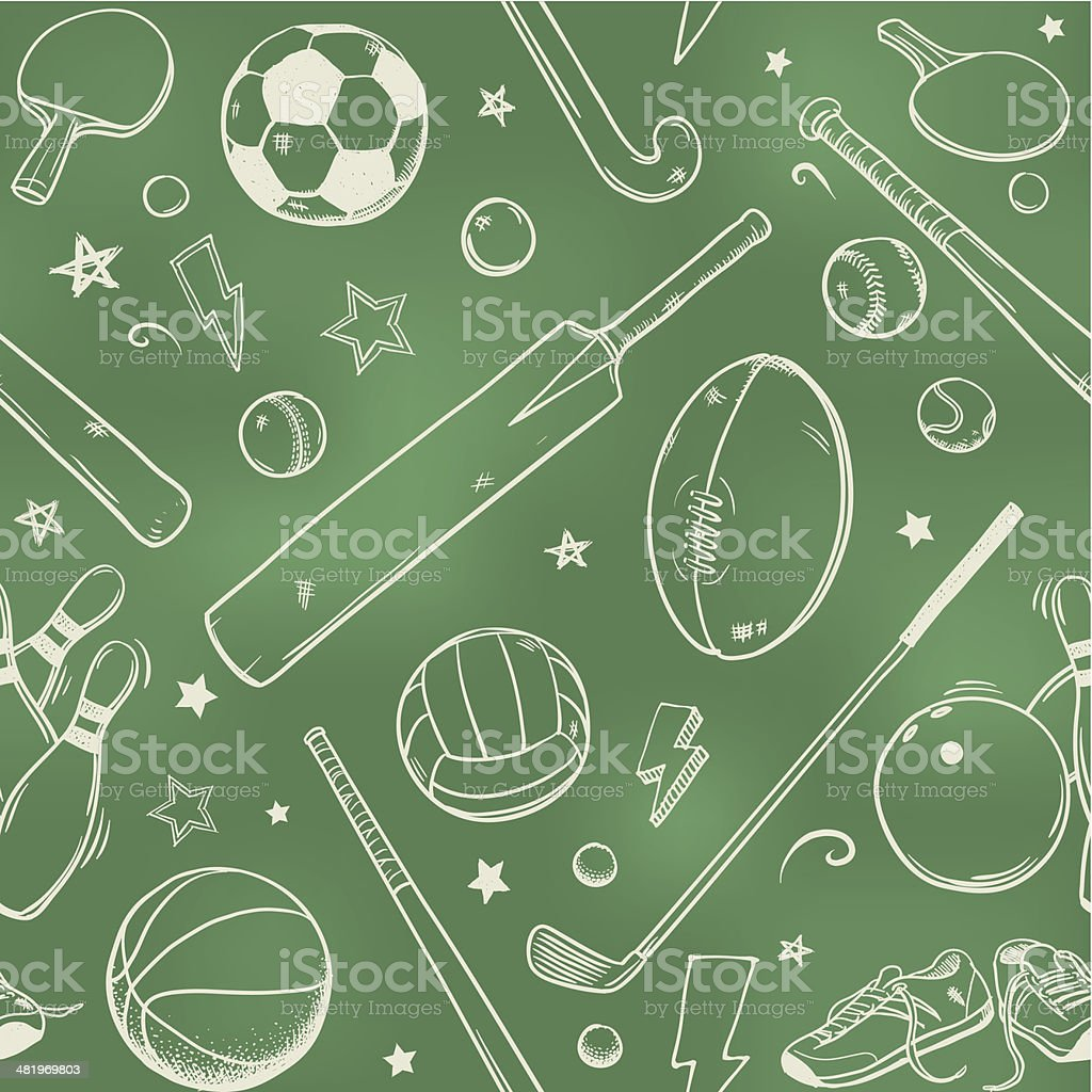 Seamless sports equipment chalk drawings vector art illustration