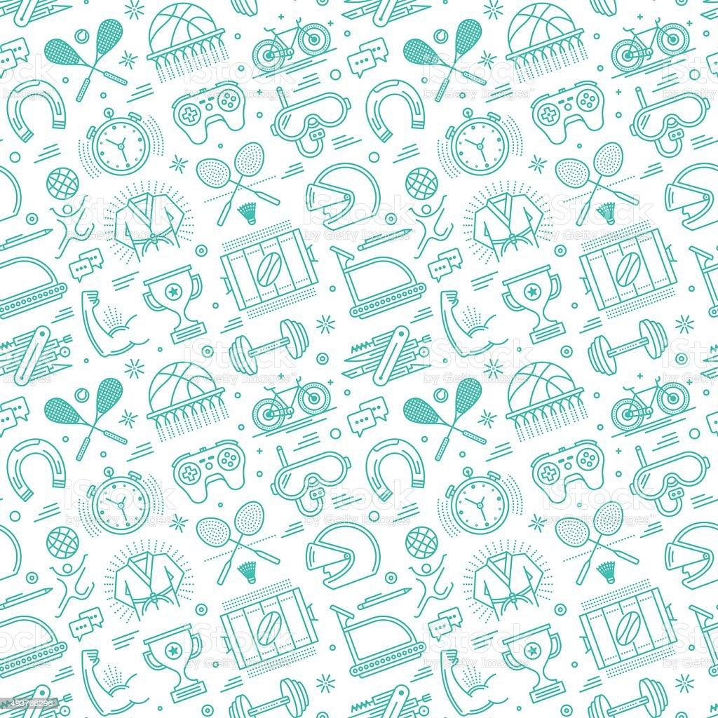 Seamless Sports Pattern vector art illustration