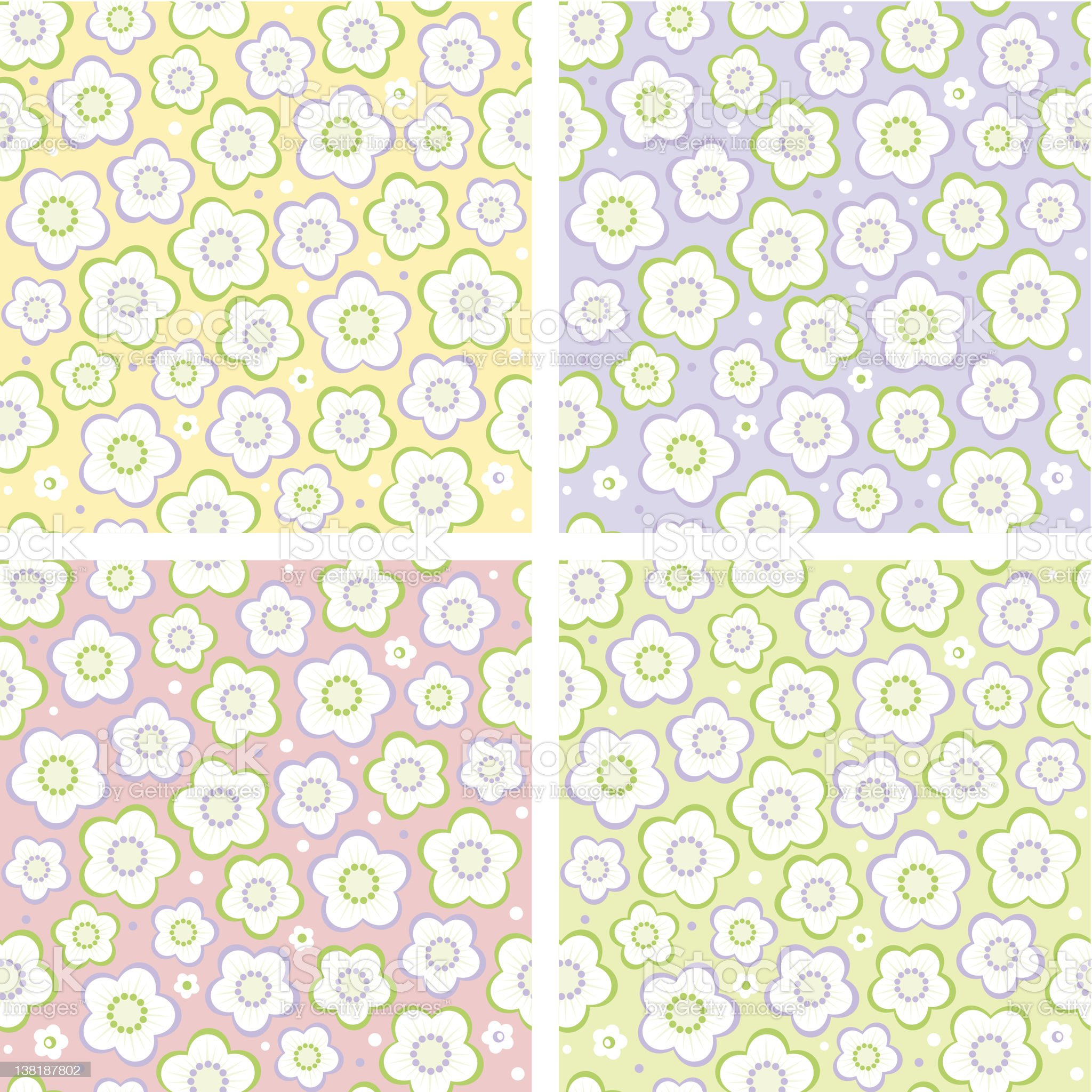 Seamless spring floral patterns royalty-free stock vector art
