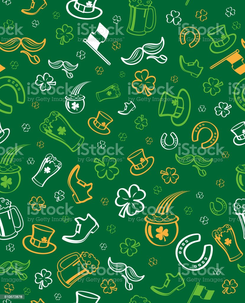 Seamless st. patrick's day pattern vector art illustration