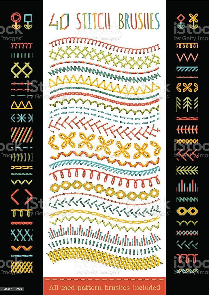 40 seamless stitch brushes. vector art illustration