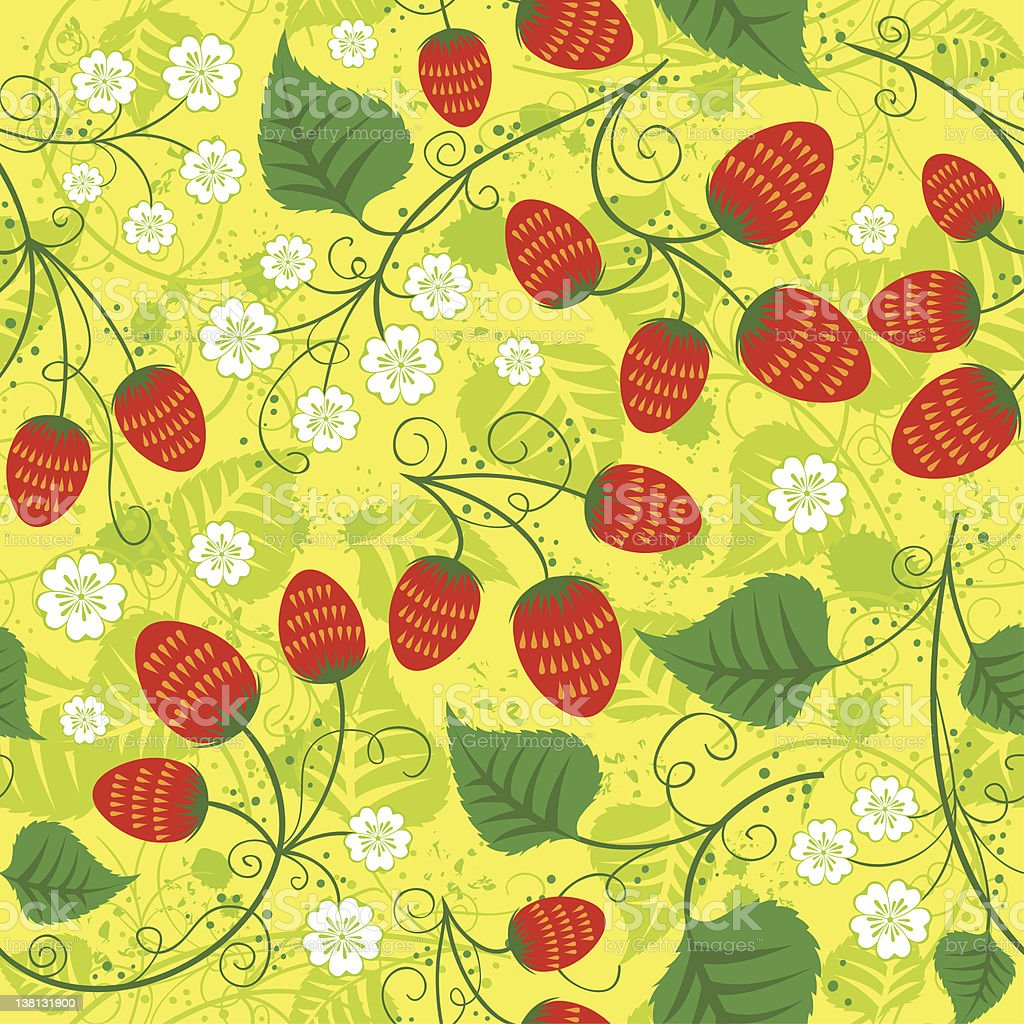 Seamless strawberry pattern royalty-free stock vector art